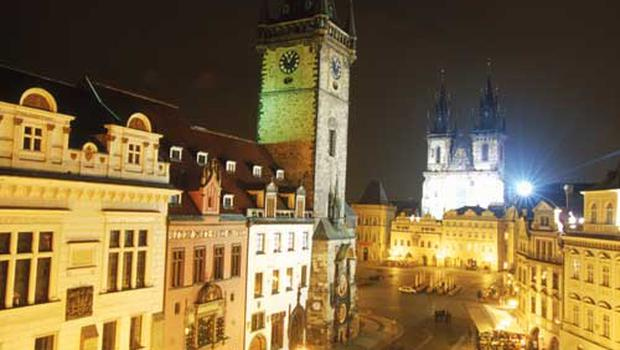 Night scene of the old town square in Prague.