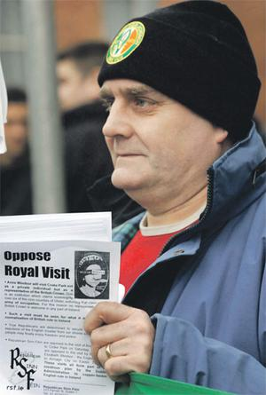 Liam Kenny at a demonstration