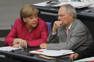 German chancellor Angela Merkel and finance minister Wolfgang Schaeuble. Photo: Getty Images