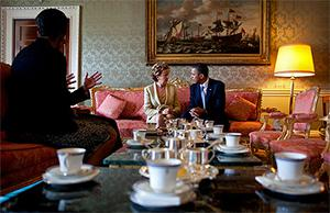 Barack and Michelle Obama with President Mary McAleese and her husband Martin in Aras an Uachtarain