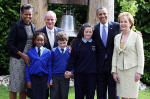 First Lady Michelle Obama, Dr Martin McAleese, US President Barack Obama and President Mary McAleese, meet school children, Onyedita Ukachukwu 8, Colm Dunne 9 and Margaret McDonagh 10, at Aras an Uachtarain. Photo: PA