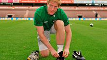 Paul McShane gets ready for training in Liege yesterday ahead of tonight's friendly against Italy in which he will captain the team. Photo: David Maher / Sportsfile