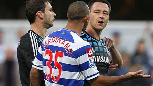 Flash point: Queens Park Rangers's defender Anton Ferdinand and Chelsea's John Terry (right) make their feelings known Photo: PA