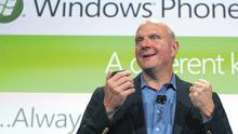 Ring tones: Microsoft CEO Steve Ballmer speaking during the Windows Phone 7 launch in New York yesterday. Photo: Reuters