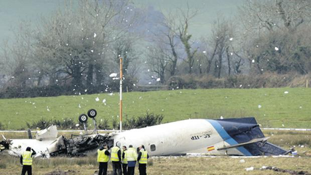 The wreckage of the Manx2 flight at Cork Airport yesterday