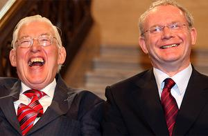 Ian Paisley and Martin McGuinness pictured shortly after being sworn in as First and Deputy First Ministers of the Northern Ireland Assembley in May 2007. The once bitter enemies were dubbed 'The Chuckle Brothers' for the jovial public image the pair often presented in their new roles