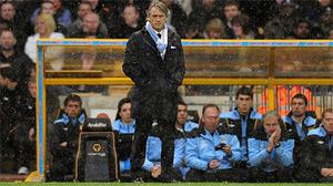 Roberto Mancini during Manchester City's game against Wolves. Photo: Getty Images