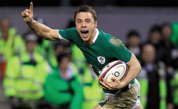 JOY: Ireland's Tommy Bowe celebrates the winning try against England during their Six Nations rugby match at Twickenham yesterday.