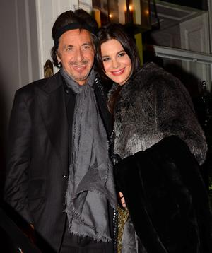 Following a screening for his movie 'Wilde Salome' Al Pacino parties at Residence club on St Stephens Green and emerges just before midnight with some of his girlfriend Lucila Sola's lipstick smudged on his lips. Hollywood actor Michael Madsen was also spotted partying at Residence, Dublin, Ireland - 20.02.12. Pictures: VIPIRELAND.COM *** Local Caption *** Al Pacino & Lucila Sola