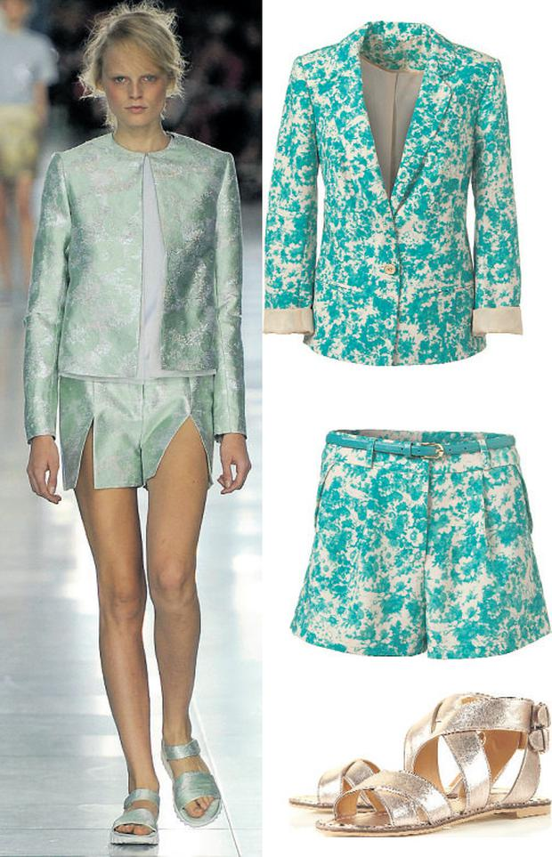 Jacket, €25, and shorts, €13, both at Penneys, 47 Mary Street, Dublin 1 and branches. Sandals, €68, at Topshop.com and 7 St Stephen's Green, Dublin 2 and branches.