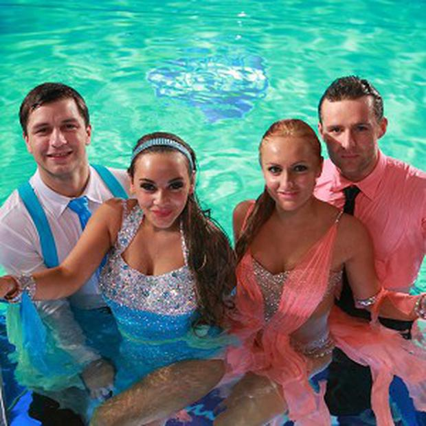 Strictly Come Dancing winner Harry Judd, far right, and finalist Chelsee Healey, second left will perform underwater for Sport Relief