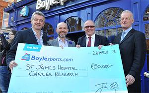 Ryanair boss, Michael O'Leary, John Boyle, founder of boylesport and Professor, Ken O'Byrne, James hospital, michael O'Leary has agreed to donate a 50,000 euro boylessport.com bnus for a cheltenham festival win to the cancer research team at St James Hospital headed by Prof Ken O'byrne who treated his late father, Ted O'Leary, Bookmakers Boylesports had offered 50,000 for any horse who won its boylessports.com sponsored novice chase at leoparsdtown and went on to win at the Cheltenham festival, Mr O'Leary's horse Sir Des Champs, trained by Willie Mullins won the Jewson Novices Chase at Cheltenham.