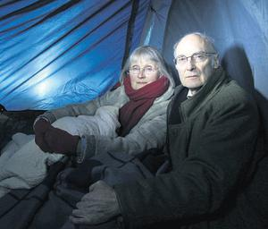 Asta and her husband Brendan spend the night sleeping in a tent outside their former home