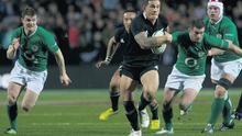 Sonny Bill Williams breaks through the Irish defensive line during the final Test in Hamilton yesterday