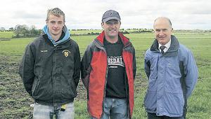 Jim Delahunty, centre, has been ably assisted this spring by student Robert Austin, left, and, for some time, Teagasc adviser Michael Hogan