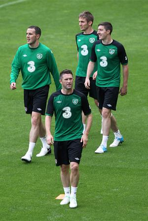 John O'Shea, Robbie Keane, Kevin Doyle and Stephen Ward during a training session at Municipal Stadium, Gdynia, Poland. Photo: PA