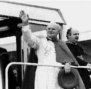 Bishop of Galway Eamon Casey with Pope John Paul II in Galway in 1979. Pic: Kevin Coleman