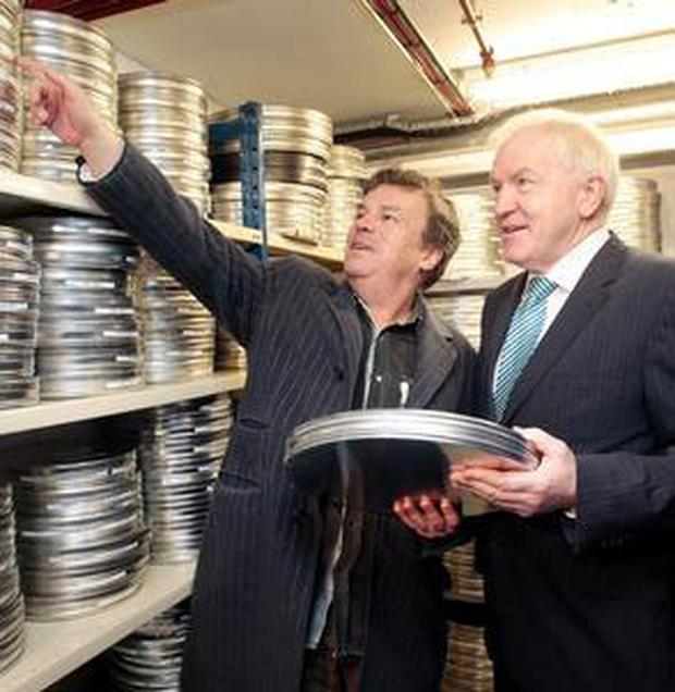Director Neil Jordan and Minister for the Arts, Jimmy Deenihan, in the Irish Film Archive in Temple Bar.