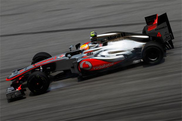 Lewis Hamilton of McLaren drives during practice for the Malaysian Formula One Grand Prix. Photo: Getty Images