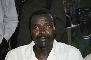 Joseph Kony, head of the Lords Resistance Army, prepares to take questions from journalists in 2006. Photo: Getty Images