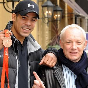 Darren Sutherland, left, with boxing promoter Frank Maloney