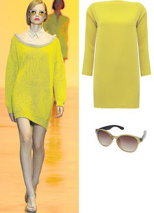 New Age Constellation bow-neck long-sleeved shift dress, €53.01 ,Topshop; Sunglasses, €21.21, Topshop, www.topshop.com