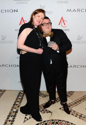NEW YORK - NOVEMBER 01: Glenda Bailey of Harpers Bazaar (L) and Designer of the Year Alber Elbaz attends the 14th Annual ACE Awards presented by the Accessories Council at Cipriani 42nd Street on November 1, 2010 in New York City.  (Photo by Jamie McCarthy/Getty Images for ACE Awards)