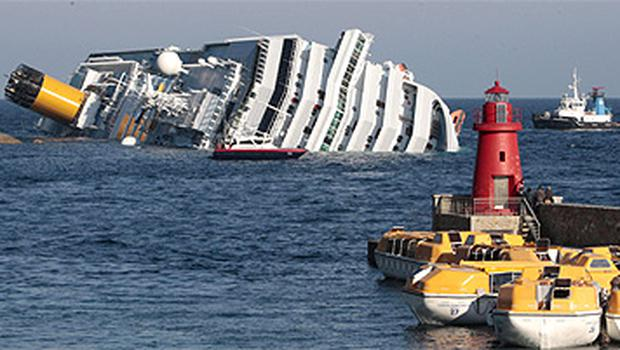 The Costa Concordia lies partly submerged off the Italian coast
