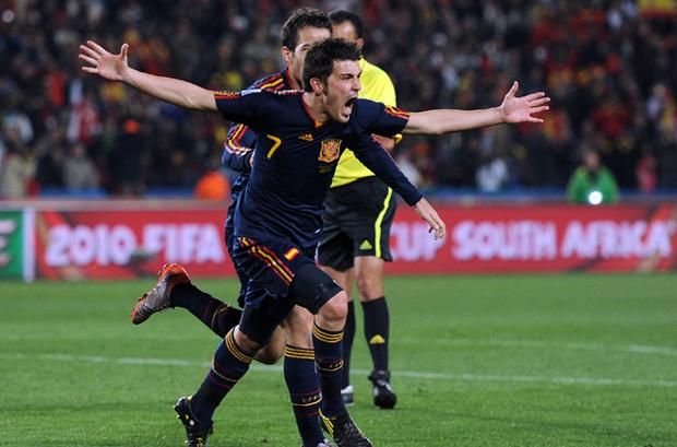 David Villa celebrates after putting Spain ahead. Photo: Getty Images