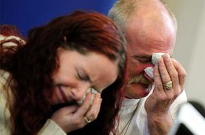 Mick Philpott and wife Mairead speak to the media at Derby Conference Centre in Derby. Photo: PA