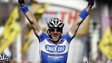 Belgium's Wouter Weylandt, pictured winning the third stage of the 2010 Giro d'Italia this day last year, was fatally injured in a high-speed crash yesterday. Photo: AP