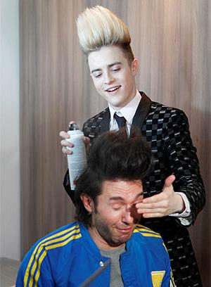 Jedward during an interview for Russian TV in their Hotel Room
