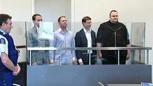 Internet guru and founder of Megaupload.com, Kim Schmitz (R), also known as 'Kim Dotcom' at a court in Auckland. Photo: Getty Images