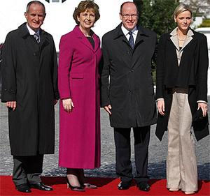 Prince Albert II of Monaco and his fiancee Charlene Whittstock pictured with President Mary McAleese and her husband Martin at Aras an Uachtarain. Photo: PA