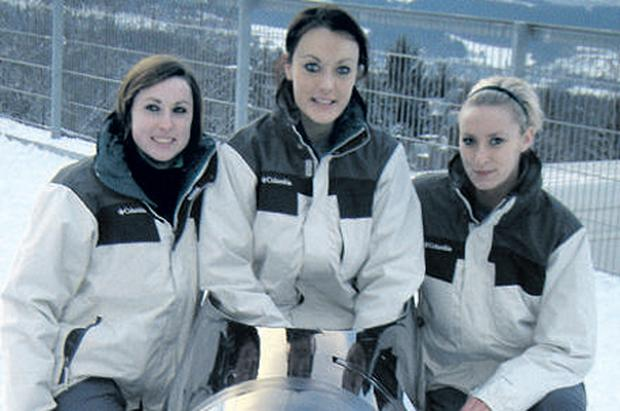 Claire Bergin, Aoife Hoey and Leona Byrne, who is an alternate brakewoman for the team, putting in some practice in Igles, Austria, last year
