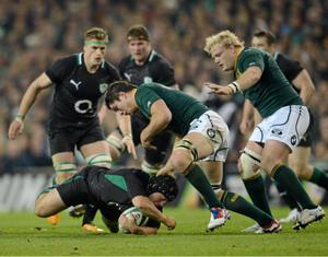 10 November 2012; Richardt Strauss, Ireland, is tackled by Francois Louw, South Africa. Autumn International, Ireland v South Africa, Aviva Stadium, Lansdowne Road, Dublin. Picture credit: Ray McManus / SPORTSFILE