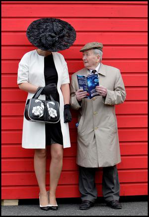 Enjoying the Irish National Hunt Festival at Punchestown yesterday was Margaret Connolly from Mullingar and Jack Purcell from Thurles Co Tipperary.Pic Steve Humphreys3rd May 2011.