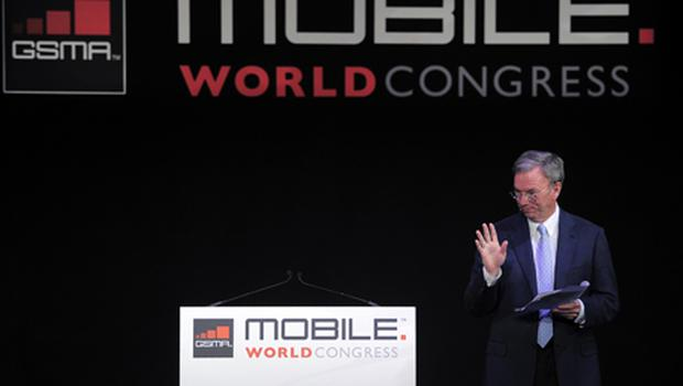Google chief Eric Schmidt speaking at the Mobile World Congress this week. Photo: Getty Images