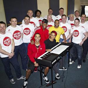 JLS have been coaching rugby stars to become singing group The Sport Relief Big Hitters
