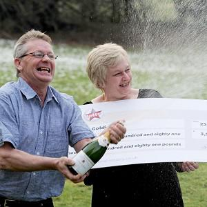 Paul Goldie and wife Christine at Lumley Castle, Chester-le-Street, Durham, won £3.5 million on the National Lottery
