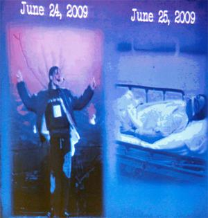 The  prosecution courtroom evidence contrasts an image of Michael Jackson reharsing on June 24 with that of his dead body a day later