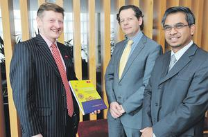 At the Chartered Institute of Management Accountants (CIMA) annual academy on 'Islamic Finance the Opportunities for Ireland' were, from left, John Wilsdon, development specialist, CIMA centre for excellences; John Moran, banking policy division, Department of Finance; and Dr Mohd Bakar, president and CEO, Amanie Islamic Learning Finance Centre, Dubai