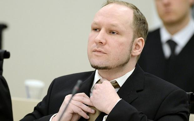 Breivik in court during the first day of his mass murder trial yesterday. Photo: Reuters