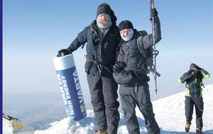 TIRED BUT HAPPY: Derek Fanning (left) and Nick Miller on the summit of the magnificent Mount Ararat in Turkey