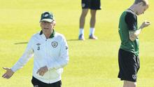 James McClean is seen as Giovanni Trapattoni makes a point during the training session