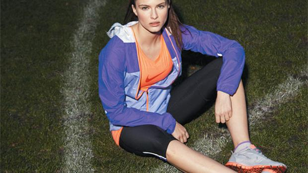 Jacket, €80; T-shirt, €31; running tights, €33; trainers, €85; socks (part of a 3-pack), €12, all Nike, Lifestyle Sports
