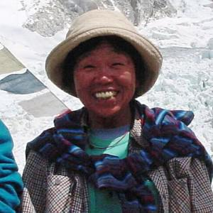 Tamae Watanabe at a base camp at the foot of Mount Everest in Nepal (AP)