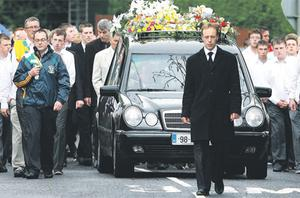 The cortege for Kevin Rafter ahead of his funeral yesterday