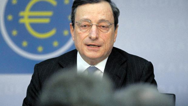 ECB president Mario Draghi announcing at a briefing yesterday that the central bank was leaving interest rates unchanged. Photo: Reuters