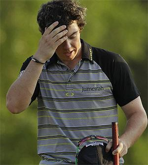 Rory McIlroy could only look back in sorrow as his Masters' dream was swept away last night. Photo: AP